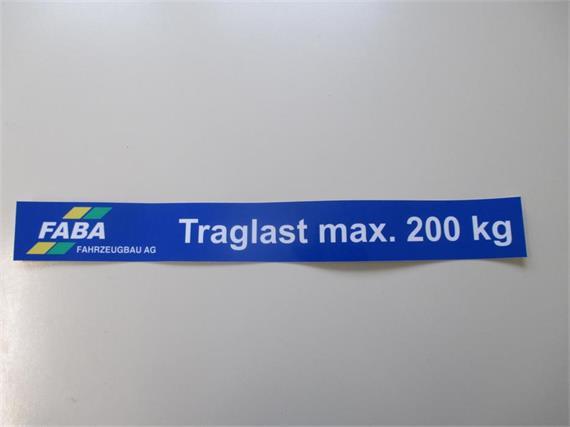 Aufkleber für Stangenträger 200kg
