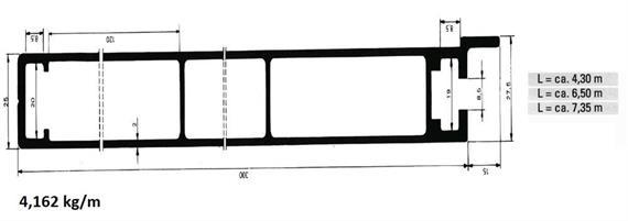 Bordwand einteilig 25 x 300 mm elox L=7350 mm