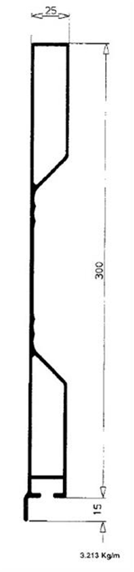Bordwand einteilig 25 x 300 mm Zoll elox L=4500mm