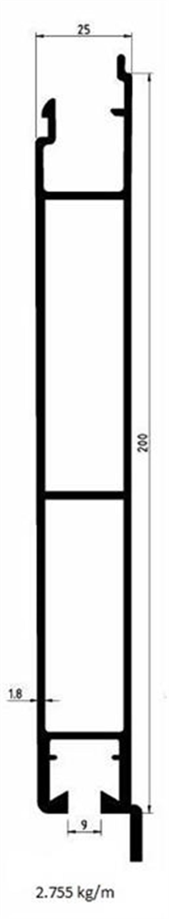 Bordwand unten 25 x 200 mit Lappen elox L=6300mm
