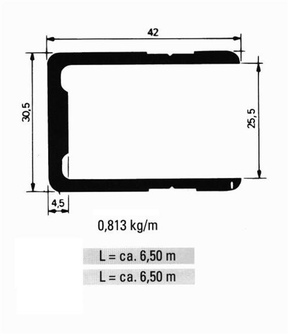 Einfassprofil 25.5 x 42 L= 6500 mm elox