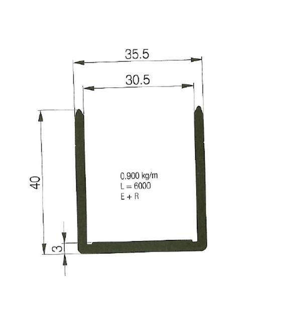Einfassprofil 30.5 x 40 L= 6000 mm elox