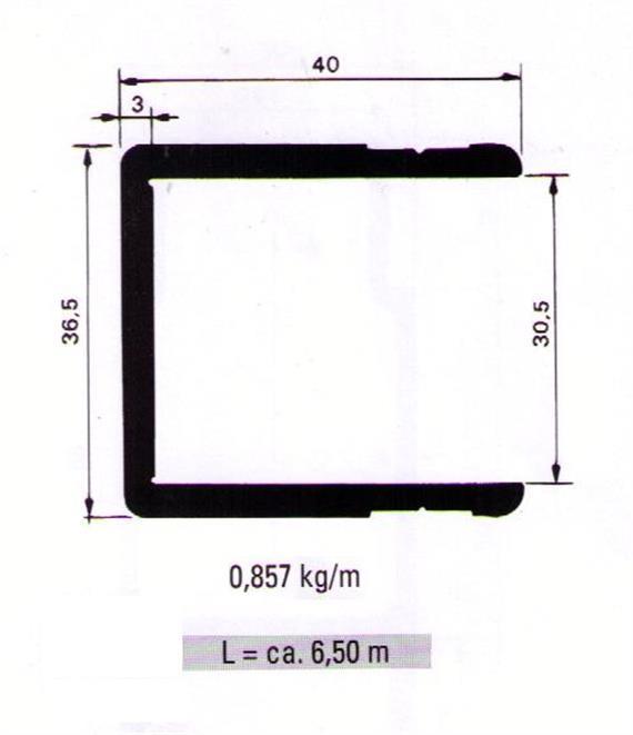 Einfassprofil 30.5 x 40 L= 6500 mm elox