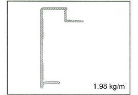 Rahmenprofil 18 x 122 elox ohne Nase L=6500 mm