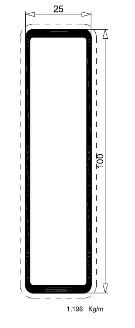 Rechteckrohr Alu 25 x 100 elox L= 6250 mm