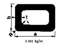 Rechteckrohr Alu 25 x 150 x 2.5 elox L= 6500 mm