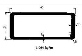 Rechteckrohr Alu 25 x 60 elox L= 6500 mm