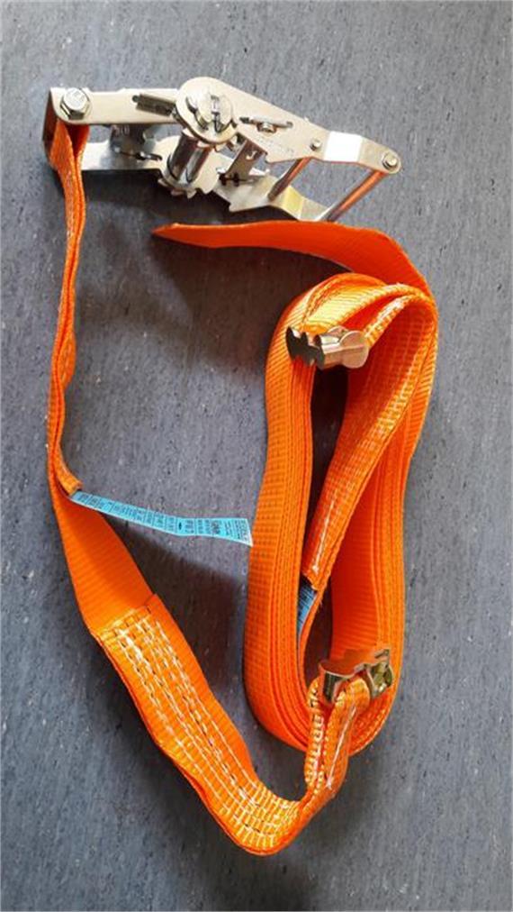 Zurrgurt 45 mm mit Doppelfitting zu Airlinezurrschiene 1000daN, orange 3 Meter /