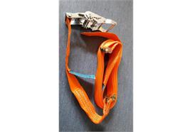 Zurrgurt 45 mm mit Doppelfitting zu Airlinezurrschiene 1000daN, orange 6 Meter /