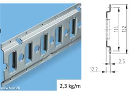 Zurrschiene - Kombi Ø 20 Stahl verz.3000x130